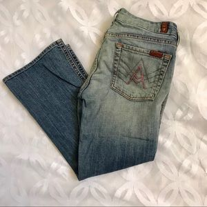 """7 for All Mankind Pink """"A"""" Pocket Cropped Jeans"""